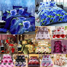 Black White Rose Bedding Australia - Wholesale- Sanding 3D Scenic Rose Flowers Pattern Bedding Set Bed sheets Duvet Cover Bed sheet Pillowcase 3-4pcs