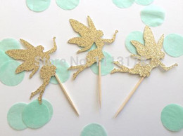 Cheap Cupcakes Wholesale NZ - Custom personality cheap Gold Glitter FAIRY Cupcake Toppers. Birthday Cupcake Topper. Cupcake Decoration. Secret Garden Party Decoration