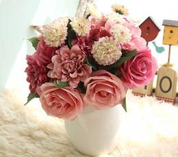 Blue Dahlias Canada - Free Shipping wholesale high quality big artificial rose+dahlia+peony silk and plastic wedding flower bridal bouquets home Decor