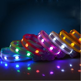 Discount dog reflective light - 2.5cm Nylon Dog Collar LED Light Belt Pet Dogs Cat Necklet Gem Glowing Reflective Stripe Pets Collars Creative 8 5gr