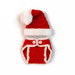 CroChet elf hats online shopping - Newborn Santa Elf Outfits Handmade Knit Crochet Baby Boy Girl Pompom Christmas Hat and Diaper Cover Set Infant Toddler Photography Prop