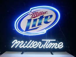 real time display UK - Fashion New Handcraft Miller Time Real Glass Tubes Beer Bar Pub Display neon sign 19x15!!!Best Offer!