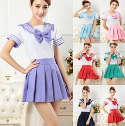Tenue De Marin Halloween Pas Cher-Japonais School Girl Uniforme Robe T-Shirt + Mini Jupe Outfit Sailor Sailor Cosplay Halloween Costume Fancy Anime S-XXL