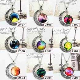 $enCountryForm.capitalKeyWord NZ - starry Moon Outer space Pendant Constellation constellation sign sign glass Cabochon necklace ancient silver crescent pendant fashion ladie
