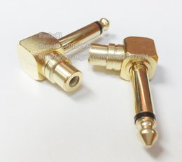 """Discount phono rca adapter - Copper Right Angled 1 4"""" 6.3mm Male plug to RCA Phono Female Adapter Converter For AV Audio Free shipping 5PCS"""