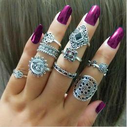 Hollow Fingers Australia - 60set Boho crown flower Midi Fingers Rings Sets For Women 9pcs set Fashion Retro hollow Knuckle Ring Bagues Femme F457