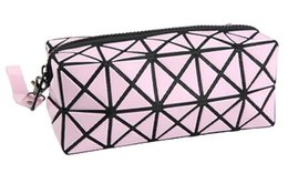 China Fashion Geometric Zipper Cosmetic Bag Women Flash Diamond Leather Makeup Bag Ladies Cosmetics Organizer New Trend 2017 cheap style cosmetics suppliers