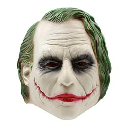 costume mask movie UK - Wholesale 2017 Movie Adult Batman Joker Clown Bank Robber Mask Dark Knight Costume Halloween Masquerade Party Fancy Latex Mask Free Shipping