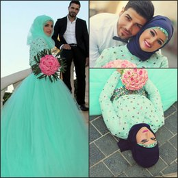 Discount robe soiree arabic - 2017 Arabic Dubai Mint Green Evening Dresses Long Sleeve Vintage Lace A Line Tiers Tulle with Beads Rhinestones Robe De