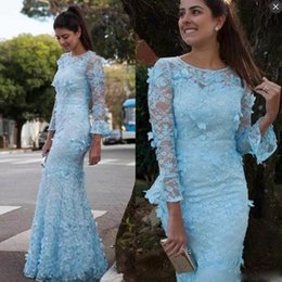 Barato Laço Decote Jóia Vestidos De Baile-Sky Blue Lace Mangas compridas Prom Dresses Long Jewel Sheer Neckline Mermaid Evening Gowns Voltar Zipper Handmade Appliques Party Dress