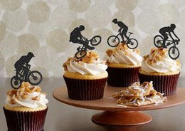 $enCountryForm.capitalKeyWord Canada - custom Bicycle Silhouette Cupcake Toppers sports event Party Picks baby shower wedding boy birthday Party Decoration