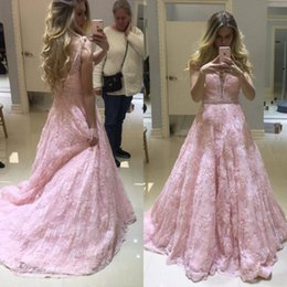 Barato Vestidos Azul Claro Sem Costas-Light Pink Prom Dresses Long Plunging Neck Sleeveless Beaded Appliqued Vestidos formais Sexy Backless Evening Dress com trem de varredura