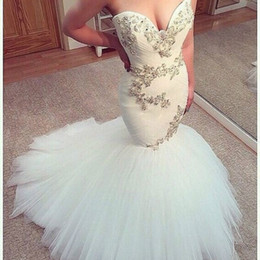 Discount mermaid style beads wedding dresses - Custom Made Plus Size Arabic Style Mermaid Wedding Dresses With Silver Lace Sweetheart Chapel Train 2019 Modern Country