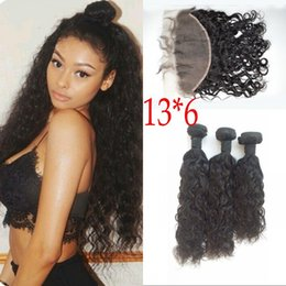 Water Knots Canada - 13*6 Water Wave Ear to Ear Lace Frontal with 3 Bundles Asian Human Hair Weft with Closure Bleached Knots FDSHINE HAIR