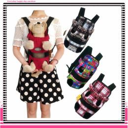 Ingrosso Borsa a tracolla portatile in stoffa con patta frontale per cani con portamonete Borsa a tracolla portatile durevole per cani da viaggio