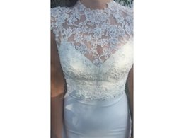 $enCountryForm.capitalKeyWord UK - Elegant High Neck Capped Sleeve Lace Topper Spaghetti Straps COR-466 V Neck Low Back Wedding Dresses Bridal Gowns Wedding Gown