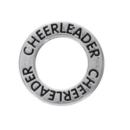 "cheerleader charms wholesale Australia - 50 PCS lot Alloy Silver Lettering ""Cheerleader"" DIY Jewelry Accessories Charms Jewelry Round Charms Best gift to Cheerlader"