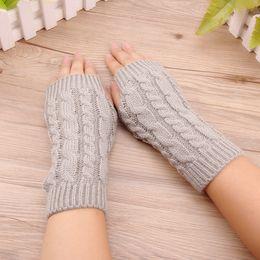 $enCountryForm.capitalKeyWord Australia - Fingerless gloves keep warm short arm sleeve knitting wool half gloves lining comfortable soft and free size