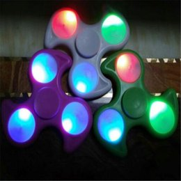 Discount tri spinner fidget toy - Newest Light up Hand Spinner Toy EDC LED Fidget Spinner Toy Finger Hand Tri Spinner Glow In The Dark Fidget Decompressio