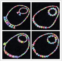 Discount kids cartoon necklaces - 2019 New cartoon Girl flowers necklace bracelet Children kids jewelry childrens jewelry 9