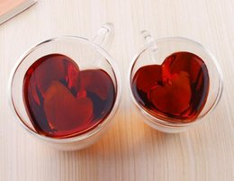 Tea lovers gifTs online shopping - New ml Heart Love Shaped Double Wall Layer Transparent Glass Tea Cup Lover Coffee Mug Gift