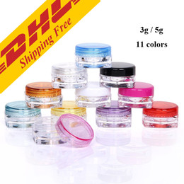 $enCountryForm.capitalKeyWord Canada - DHL FREE 3g 5g transparent small square bottle Cosmetic Empty Jar Pot Eyeshadow Lip Balm Face Cream Sample Container 11 colors optional