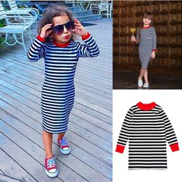 Barato Meninas Boutique Vestido Da Listra-INS Autumn Lovely Baby Girls Vestido Stripe Vestido de manga comprida Casual One-Piece Boutique Party Costume Toddler Clothes
