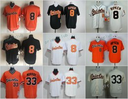81981aaa8 ... Throwback Baltimore Orioles Baseball Jerseys 33 Eddie Murray 8 Cal  Ripken Jr Black Orange Mesh Cooperstown ...