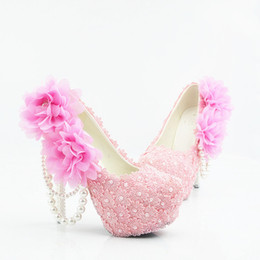 Size 11 Evening Shoes Australia - Pink Lace Pearls Pumps Sexy Prom Evening Shoes Cinderella Shoes Hand-made Bridal Bridesmaid Nigh club Party Shoes with Flowers Plus Size 225