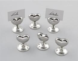 $enCountryForm.capitalKeyWord UK - 100pcs lot Wedding decoration metal Love Heart shape Silver Place name photo Card Holder DHL Fedex Free shipping