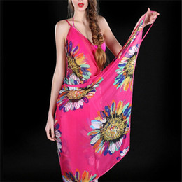 38ac77887a Wholesale-New Arrival Chiffon Flower Scarves Spring Summer Women Sunscreen  8 Colors Silk Straps Beach Towel Long Soft Shawls Dual Wraps