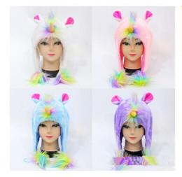 Free plush horse online shopping - Unicorn Kids Hats Warm Cartoon Boys Girls Plush Caps Soft Horse Winter Warm Colorful Children Hat Christmas Gifts DHL