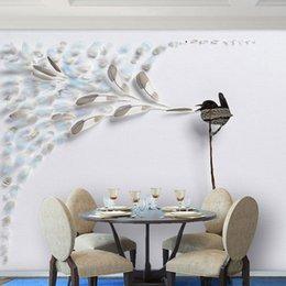 Vente en gros peut être personnalisable Grandes Peintures Murales Papier Peint TV Fond salon design professionnel oiseaux Décoration Fresque