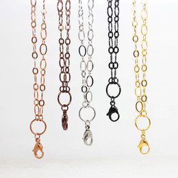 """Stainless Chains Canada - Panpan Jewelry! 32"""" (80cm) stainless steel large flat oval link custom chain floating locket necklace chain"""