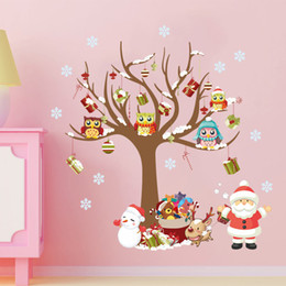 large christmas window stickers Canada - Christmas tree Santa snowman stickers children bedroom wall stickers window glass PVC can be removed wallpaper