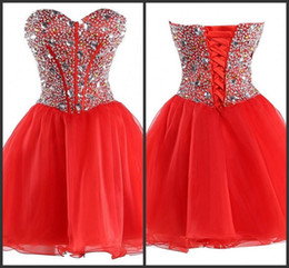 15 dresses red short NZ - Red Dress Cheap Party Gown Short Mini Wear Crystals Beading Lace Up Back Sequin Dress Sleeveless Sweetheart Neck Custom Sweet 15 Dresses