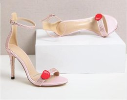 cherry heels Canada - 2017 Crystal Sandals Sexy Stiletto Heel Rhinestone Cherry High Heels Pink Pump Gladiator Strappy Sandals Women Shoes