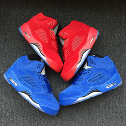 Discount child satin - With box New wholesale 5 blue suede RED Children Basketball Shoes baby V 5s Sneakers kids Sports Running girl trainers 1