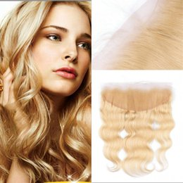 $enCountryForm.capitalKeyWord NZ - Brazilian Remy Human Hair 613 Blonde Lace Frontal Closure Free Part Body Wave 13x4 Bleached Knots Baby Hair FDSHINE