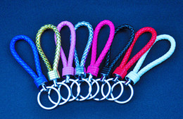 $enCountryForm.capitalKeyWord Canada - 20pcs lot creative knit hand knitting key chain lovers keychain Leather hide rope car key chain small gifts multicolor mixed