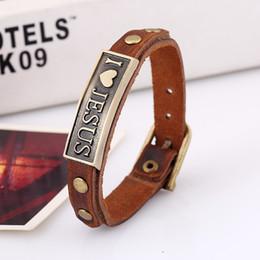 $enCountryForm.capitalKeyWord Canada - I LOVE JESUS Charm Bracelets Vintage Pendant Christian leather bracelets for men women bangle free shipping