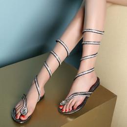 2017 Summer Handmade Custom Diamond Rhinestone Straps Sexy Feet Around The Serpentine Sandals Toe Flat Fashion Womens Sandals