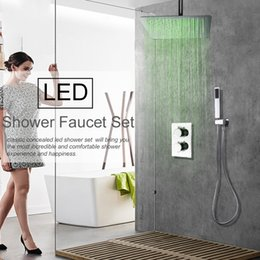 concealed shower set Australia - Concealed LED Change Rainfall Shower Faucets Set Ultrathin Shower Head Handheld Shower Mixer Tap Bath&Shower Faucets