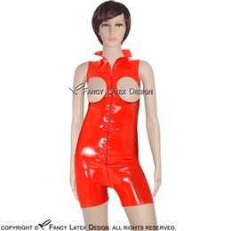 Barato Maiúsculas E Minúsculas-Red Sexy Latex Catsuit Com Frente Zipper High Collar Bondage Fetish Body Suit Plus Size Rubber Gato Suit Bodysuit