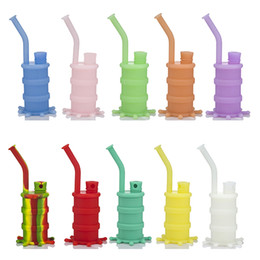 Mini Silicium Solide Pas Cher-DHL Portable Silicone Mini Bong Pipe D'eau Coloré 4 Pièces Solide Silicium Downstem Bol En Verre Bongs Pipes Smoking