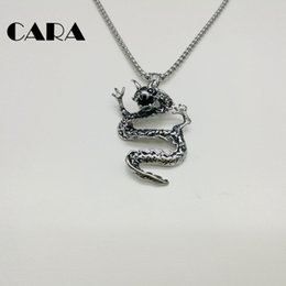 $enCountryForm.capitalKeyWord NZ - CARA New Stylish retro Chinese Dragon charm necklace 316L stainless steel Vintage chain necklace for men and women CARA0177