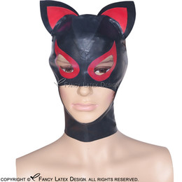 Tt Yellow NZ - Black With Red Sexy Latex Hoods With Ears Zip On back at back Open Eyes Mouth Fetish Rubber Cat Mask Bondage Plus Size TT-0044