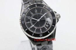 Bezel Quartz Black Canada - NEW LUXURY 38mm big watches Top quality wristwtches quartz movement womens ceramic watch black bezel fashion ladies watch