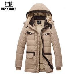 hooded trench men Australia - Wholesale- Kenntrice Long Parka Men Fashion Section Cotton Trench Thicken Coat Winter Male Hooded Collar Jacket Men's Down Jacket Thick