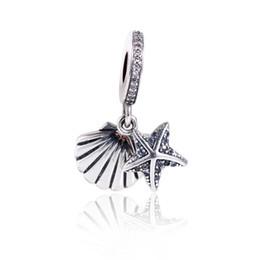 f0368dd3df94 2017 Colección de Verano Fit Pandora Charms Pulsera Auténtica Plata de Ley  925 Cubic Zirconia Starfish Charms Grano Joyería de Moda DIY